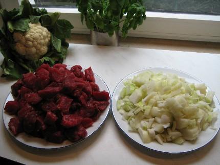 Fleisch und Zwiebeln